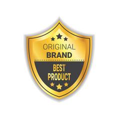 original brand label golden shield best product vector image vector image