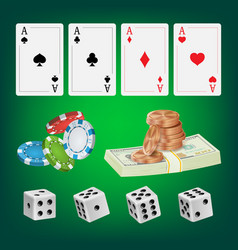 poker design elements chips money stacks vector image