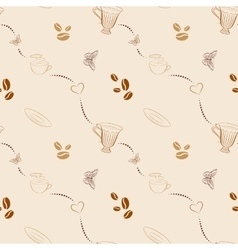 Seamless pattern with coffee beans and cups vector image vector image