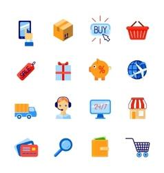 Shopping e-commerce icons set flat vector image