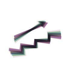 stair with arrow colorful icon shaked vector image vector image