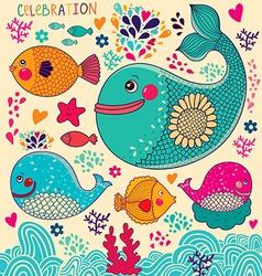 Whales and fish vector image vector image