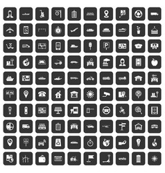 100 navigation icons set black vector