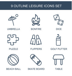 9 leisure icons vector