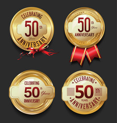 anniversary retro golden labels collection 50 vector image