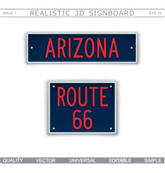 Arizona route 66 creative 3d signboard vector