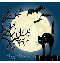 black cat on a fence in front moon vector image