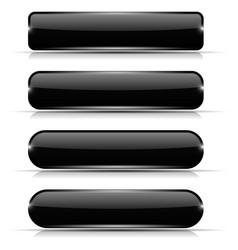Black glass buttons set of long rectangular web vector