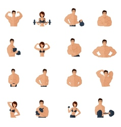 Bodybuilding fitness gym icons flat vector