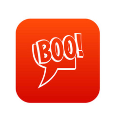 Boo comic text speech bubble icon digital red vector