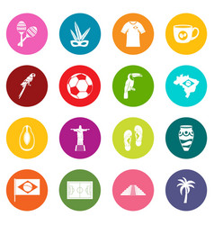 brazil travel symbols icons many colors set vector image