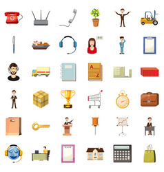 Businessman icons set cartoon style vector