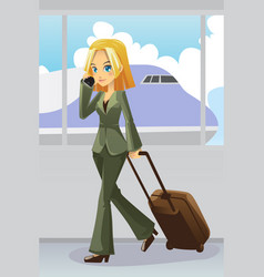 businesswoman at airport vector image