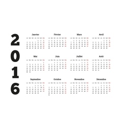 Calendar 2016 year on French language A4 sheet vector image