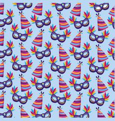 carnival mask hat background vector image
