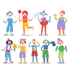 Cartoon clown character funny circus man clownery vector