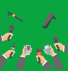 cartoon human hand holding mic set vector image