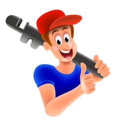 cartoon plumber plumbing service isolated vector image