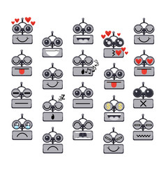 Cartoon robot face smiling cute emotion negative vector