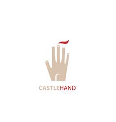 Castle hand shield logo vector