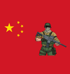 Chinese soldier background vector