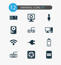 computer icons set with central processor unit vector image