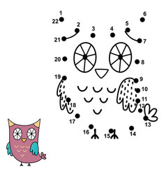 connect the dots and draw a cute owl vector image
