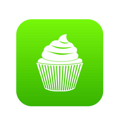 cupcake icon digital green vector image