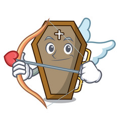 cupid coffin character cartoon style vector image