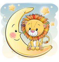 Cute cartoon lion on the moon vector