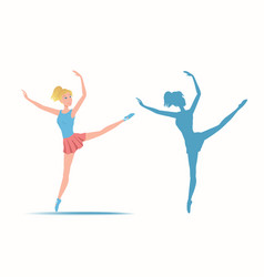 dancing sportive and young ballerina and her vector image