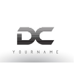 Dc d c black and white horizontal stripes letter vector