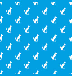 egyptian cat pattern seamless blue vector image