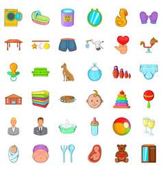 family icons set cartoon style vector image