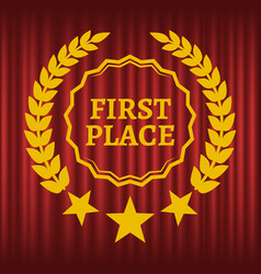 first place sign in golden wreath image vector image