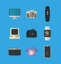 Flat design gadgets technology icons vector