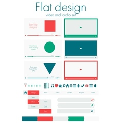Flat design Video and audio sets vector image