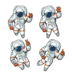 Floating cosmonaut set vector