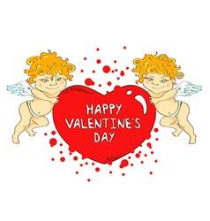 Funny cartoon cupids holding big heart vector