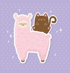 Funny llama peruvian and cat kawaii characters vector
