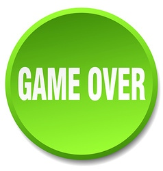 game over green round flat isolated push button vector image