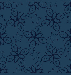 geometric flower motif faded denim style seamless vector image