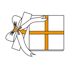 gift box with ribbon bow icon image vector image