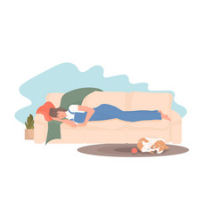 Girl sleeping on couch in her living room dog vector