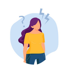 girl thought finding solution problem new ideas vector image