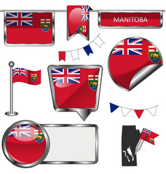 Glossy icons with flag of province manitoba vector