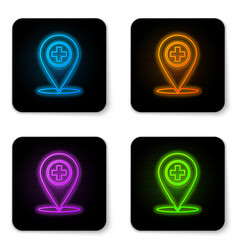 Glowing neon medical map pointer with cross vector