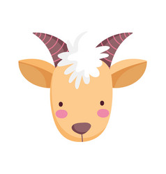 Goat face bovine farm cartoon animal vector
