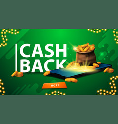 Green cashback banner with a bag gold coins vector