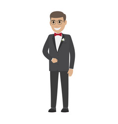 Groom in wedding suit isolated on white young male vector